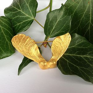 Gold Sycamore Seed Brooch - pins & brooches