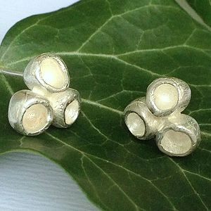 Sterling Silver Triple Pod Stud Earrings - earrings