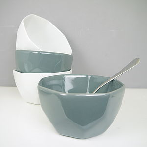 Pair Of Contemporary Geometric China Bowls - bowls