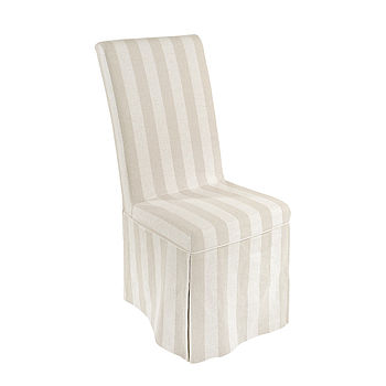 Stripe French Country Linen Covered Dining Chair