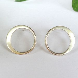 Sterling Silver Hammered Circle Earrings - earrings