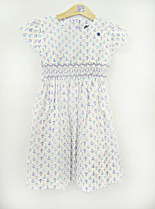 Anchor Print Smocked Dress