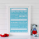 Bespoke Framed 'New Parent' Print - Blue and White