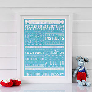 Advice For New Parents Print - gifts for new parents