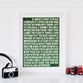 Personalised 'My Dad Is...' Print - Green & White