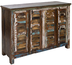 Reclaimed Wood Four Door Shutter Sideboard - storage & organisers