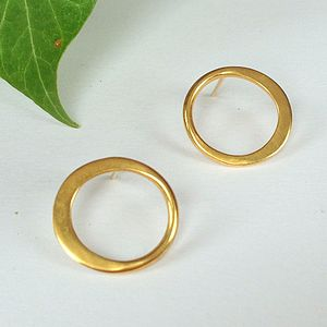 Gold Hammered Circle Earrings - earrings