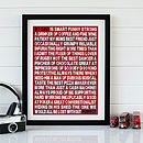 Bespoke 'My Dad... Is' Print - Red & White