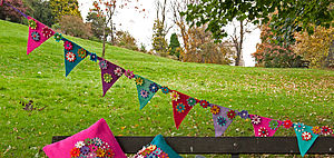 Handmade Felt Multicoloured Flower Bunting - occasional supplies