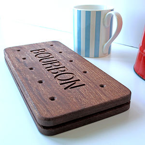 Bourbon Biscuit Giant Wooden Coaster - time for tea
