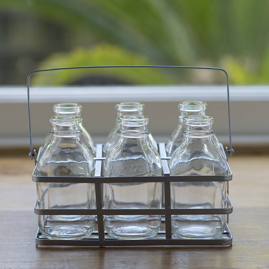 Vintage Style Mini Glass Vase Bottles By The Flower Studio