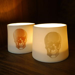 A Pair Of Fine Porcelain Skull Votives - party decorations