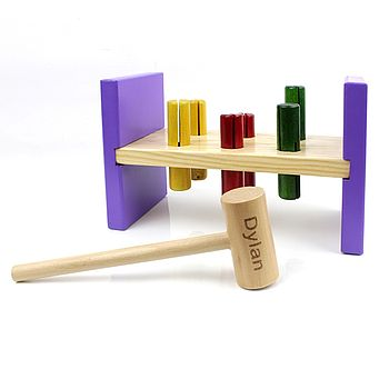 Personalised Wooden Hammer And Bench Toy