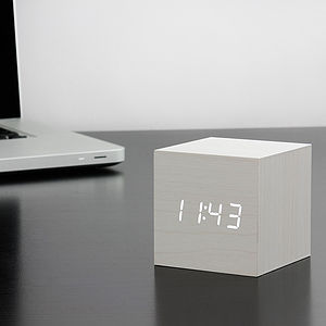 Cube White Click Clock - office & study