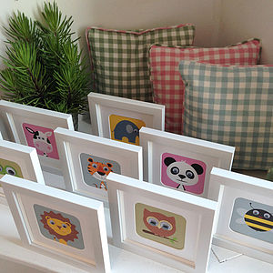 Wobbly Eyed Animal Framed Nursery Prints - children's room