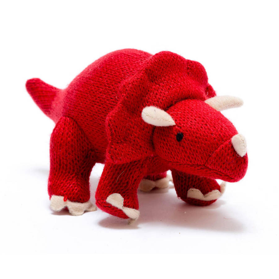 knitted dinosaur rattle by little baby company | notonthehighstreet.com