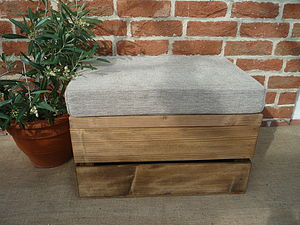 Vintage Style Seat Crate, Three Inch Cushion - storage & organising