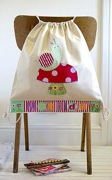 Girl's Personalised Snail Nursery Bag