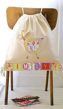 Girls Personalised Bird Nursery Bag