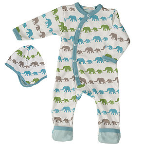 New Baby Romper Blue Elephants