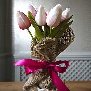 Small Bouquet Of Everlasting Tulips - silk & paper flowers