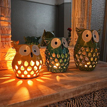 Coloured Ceramic Owl Tealight Holder