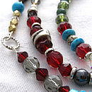 Bead/ Silver/Crystal Lariet Necklace