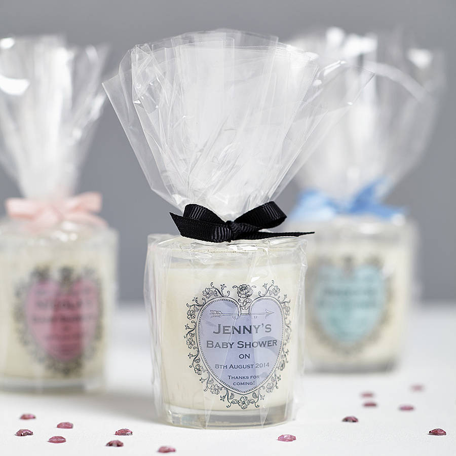 hearth heritage ltd baby shower personalised candle favours