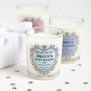 Baby Shower Personalised Candle Favours - votives & tea light holders