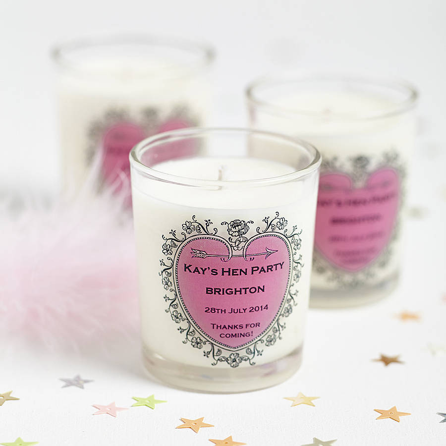 hen party favour personalised candle by hearth & heritage ...