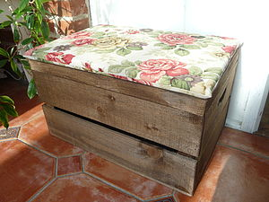 Vintage Style Seat Crate, One Inch Cushion - furniture