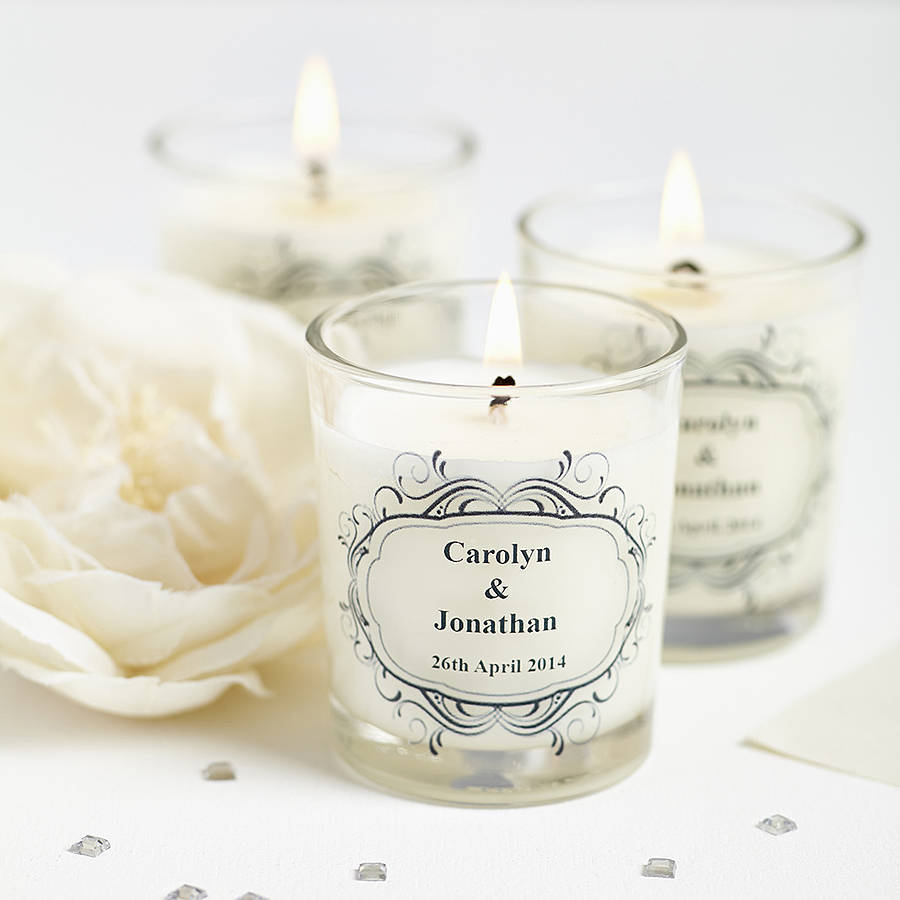 wedding favour personalised scented candles by hearth & heritage ...