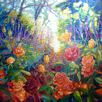 English Summer Garden Oil Painting
