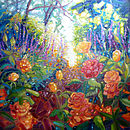 English Summer Garden Oil Painting