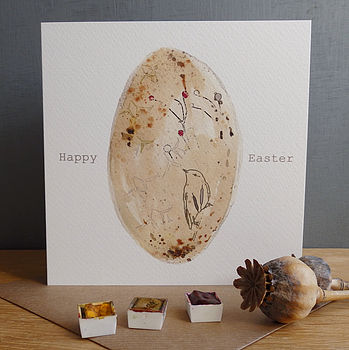 'Happy Easter' Brown Bird's Egg Card