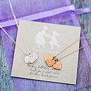 Silver chain with rough disc charms, rose gold chain with textured heart charms