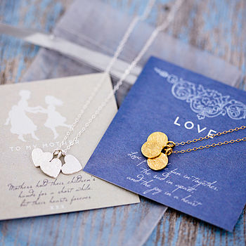 Silver chain with rough heart charms, gold chain with rough gold disc charms