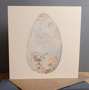 'Happy Easter' Blue Bird's Egg Card