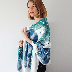 Blue Little Lovers Heart Scarf