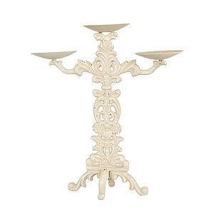 Cream Cast Iron Candle Stand - table decorations