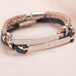 Personalised Women's Leather Identity Bracelet