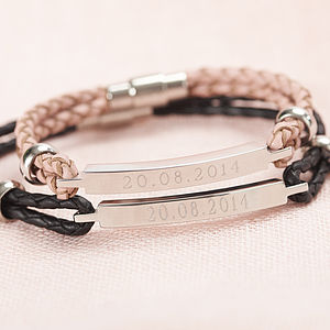 His And Hers Personalised Identity Bracelets - 3rd anniversary: leather