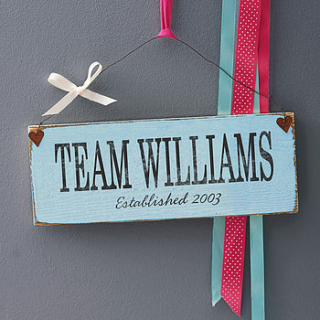 Personalised Family Team Sign
