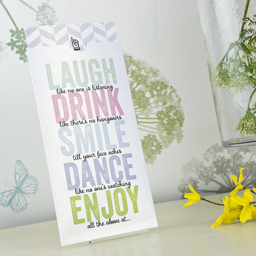 laugh, drink, smile\' wedding invitation by love wedding print ...