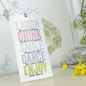 'Laugh, Drink, Smile' Wedding Invitation