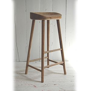 Weathered Oak Bar Stool - furniture