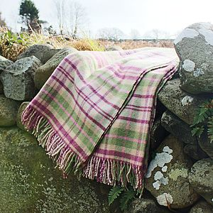 Pink And Green Check Wool Throw