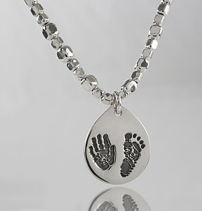 Personalised Hand And Foot Cuboid Necklace