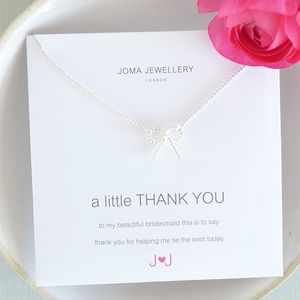 Bridesmaid 'Thank You' Bow Necklace - jewellery gifts for bridesmaids