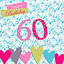 60th Birthday Card With Crystal Gem